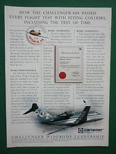 11/1995 PUB CANADAIR BOMBARDIER CHALLENGER 604 REGIONAL AIRLINER ORIGINAL AD