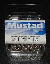 50 Mustad 34007ss-01 Size 1 Saltwater Stainless Steel O'shaughnessy Hooks