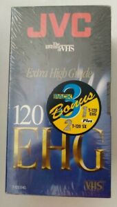 3 Pack JVC VHS SX High Performance 120 6 hrs T-120SX Sealed Blank Tapes Bonus