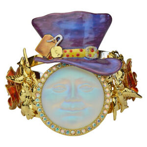 Kirks-Folly-Red-Roses-Glass-Seaview-Moon-Mad-Hatter-Cuff-Bracelet-Goldtone