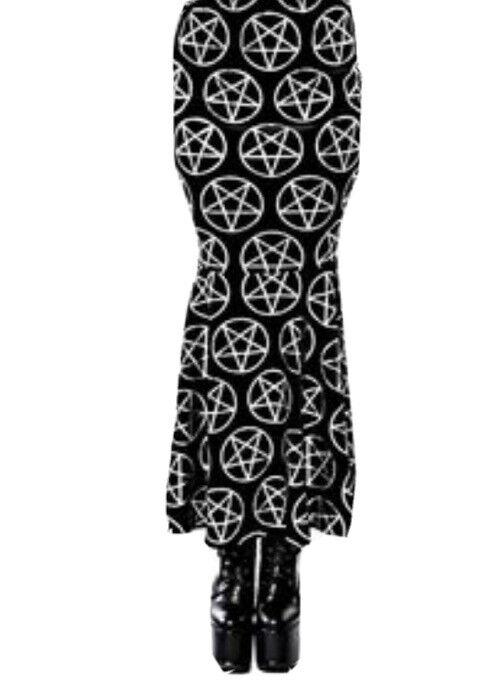 Killstar Black Velvet Rhiannon Maxi Mermaid Fishtail Skirt L Pentagram Goth