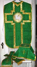 Chasuble Set Green Fiddleback Agnus Dei Vestment + Veil, Burse, Maniple, Stole