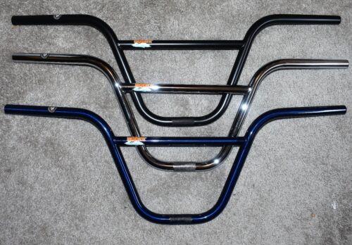 S/&M Hoder Handlebars Bars 9.5 in Rise for BMX Freestyle Bike Chrome Blue Black