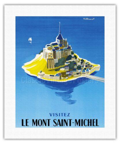Mont Saint-Michel Normandy France Villemot Vintage Travel Poster Print Giclée