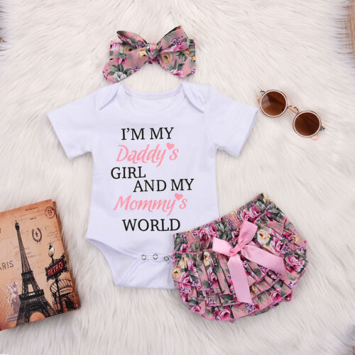 UK Baby Girls 3PCs Outfits Set Headband Tops Pant Newborn Infant Clothes Romper