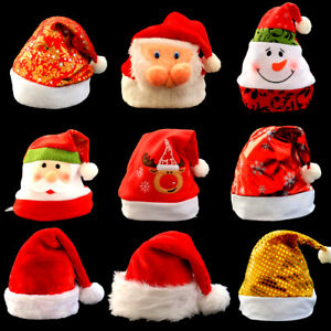 Enfant-Adulte-Bonnet-Chapeau-Paillettes-Xmas-Accessoires-Fete-Noel-Decor-Cadeau
