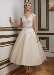 f60772de31029 New Lace Tea Length Wedding dress Formal Bridal Gown Party Dress ...