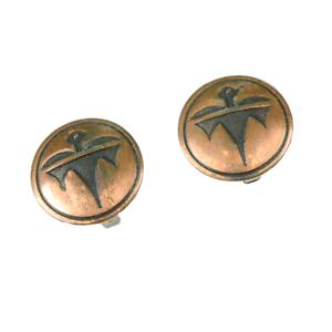 Vintage-Souvenir-Copper-Ear-Rings-Clip-On-Thunderbird-Southwest-Jewelry