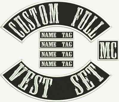 "MC Biker 13"" Custom Embroidered Full Vest Set Patches"