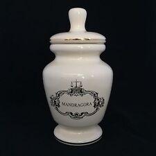 Vintage Eli Lilly MANDRAGORA Mandrake Root Ivory Apothecary Pharmacy Jar & Lid