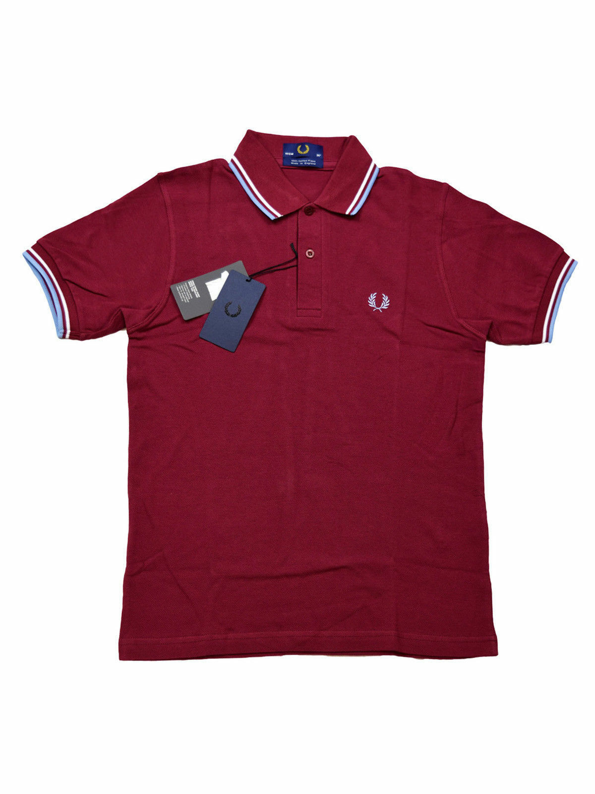 Fred Perry Polo Shirt M12 106 Made In England Bordeaux   white   Hellblue   5444
