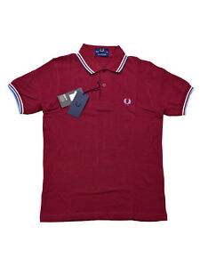 Fred-Perry-Polo-Shirt-M12-106-Made-In-England-Bordeaux-Weiss-Hellblau-5444