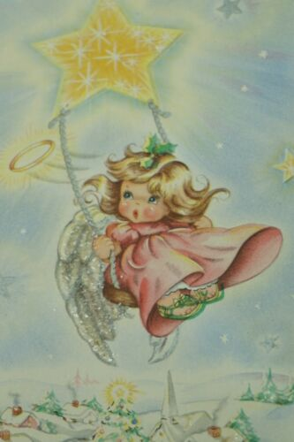 Details about  /VINTAGE CHRISTMAS CARD NEW OLD STOCK AMERICAN GREETINGS 1950s ART CHOICE ANGELS