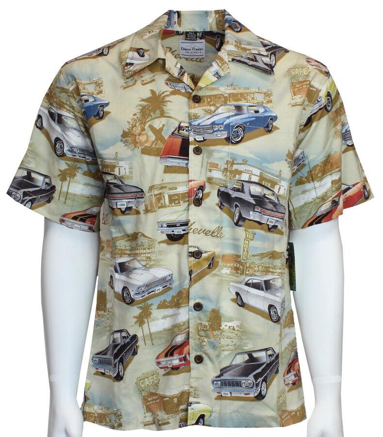 David Carey Vintage Chevy Chevelles Printed on Hawaiian Camp Shirt Button Down