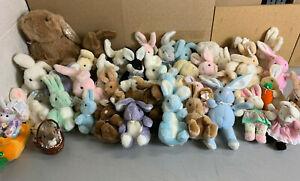 ~Lot of 42 GUND Stuffed Animal BUNNY RABBITS Plush Collection -Vintage 80's 90's