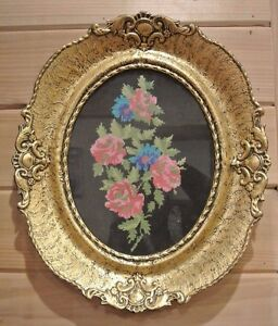 Vintage-Big-Resin-Frame-with-Needlepoint-Roses