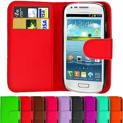 Wallet PU Leather Case Magnetic Cover For Samsung Galaxy S3 S4 Mini i8190 i9190