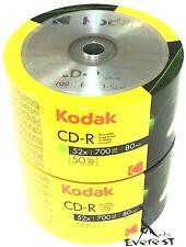 100 Kodak CD-R 52X Logo Branded CD-R CDR Blank Disc Media 700MB New Seal