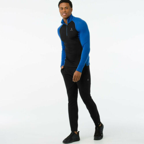 SmartWool Mens Smartwool Merino 200 1//4 Zip Long Sleeve Baselayer Black Blue
