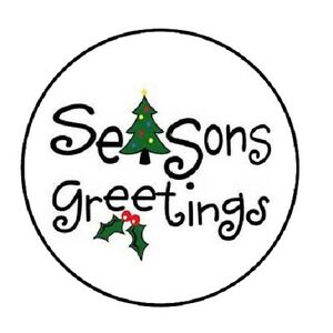 48 Season Greetings Tree Envelope Seals Labels Stickers 1 2 Round Ebay