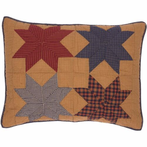 KINDRED STAR Standard Sham Patchwork Farmhouse Tan//Blue//Red Primitive 21x27