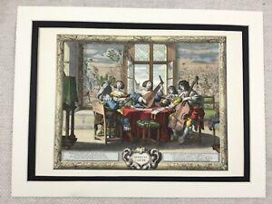 Hand Coloured Print French Abraham BOSSE Five Senses Musicians Music Royal Court