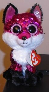 "Ty FLIPPABLES ~ JEWEL the Fox Changing Sequins 6"" Beanie Boos NEW & RARE"