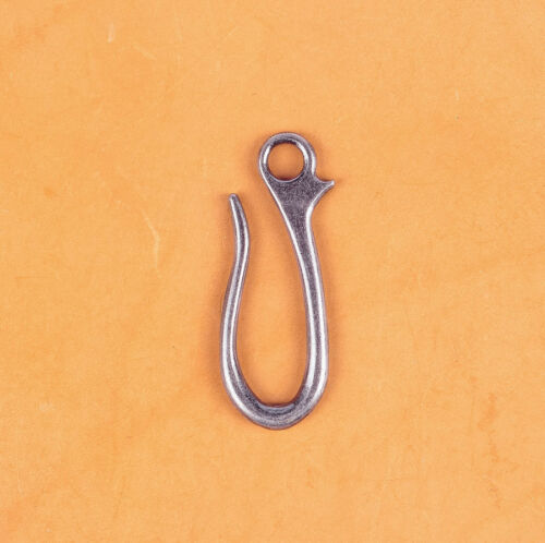10PC 64X23MM VINTAGE Sliver KeyChain Key Ring Belt U Hook Wallet Chain Fish Hook