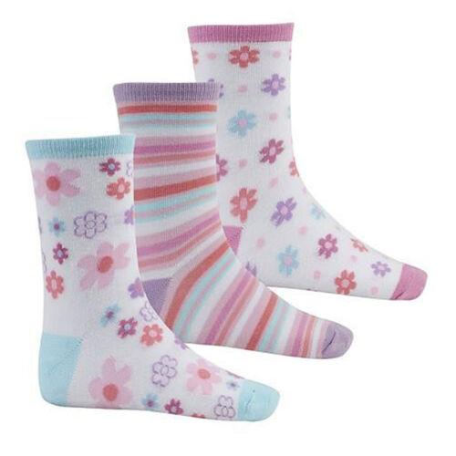 3 Pairs Kids Girls Flower /& Bird Socks Pack Of 3 Sock 6-8.5 9-12 12.5-3.5 43B395