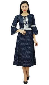 Bimba-Women-039-s-Navy-Blue-Retro-Style-Chambray-Dress-Mid-Calf-Boho-Dress-With-Lace
