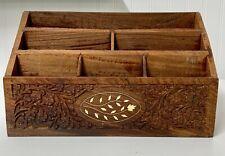 Vintage Desk Organizer Letter Mail Holder Carved Wood Boho