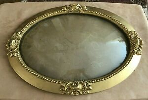 """Bubble Glass curved antique picture frame convex 22"""" gold tone oval wood wall"""