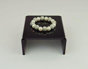 2 x Display Stand Plinth 6mm Black Gloss - Approx 125mm W x 60mm H x 125mm D