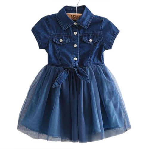 Girls Tulle Patchwork Denim Shirt Dress Kids Summer A-Line Party Tutu Dresses