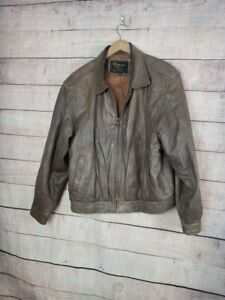 VINTAGE-REED-SPORTSWEAR-Mens-42-L-Brown-Leather-Bomber-Jacket