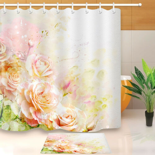 Amant De Fleur Rose Tissu rideau de douche ensemble salle de bain rideaux Liner Accessoires