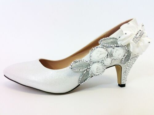 CHILDRENS GIRLS KIDS MID HEEL DIAMANTE PARTY SHOES BRIDESMAID SIZE 1 3 UK