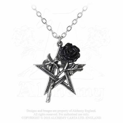 Alchemy Ruah Vered Kette Pentagram Black Rose Gothic Halskette mit Anhänger