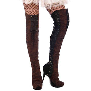 Forum-Novelties-Woman-039-s-Steampunk-Thigh-High-Boot-Tops-One-Size-Black-Brown