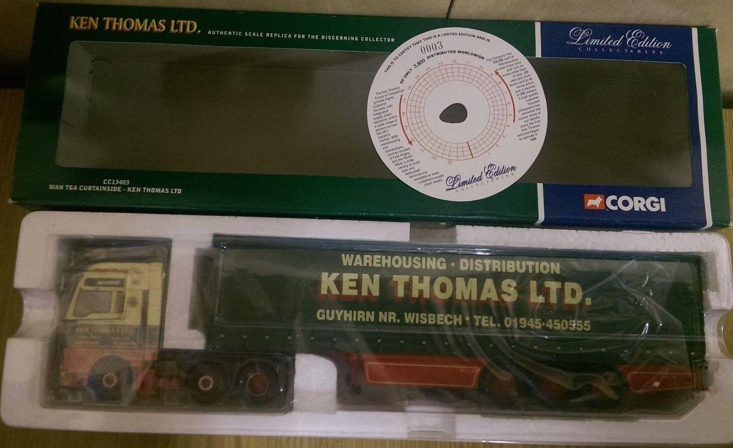 Corgi CC13403 MAN TGA Curtainside Ken Thomas Ltd Edition nr. 0003 of 3800