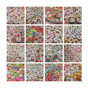 WOODEN-BUTTONS-MIXED-DESIGN-PACKS-SCRAPBOOK-SEWING-CARD-MAKING-VINTAGE