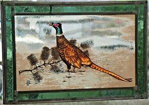 Bleiverglasung-Fensterbild-aeltere-Glasmalerei-034-Jagdfasan-034