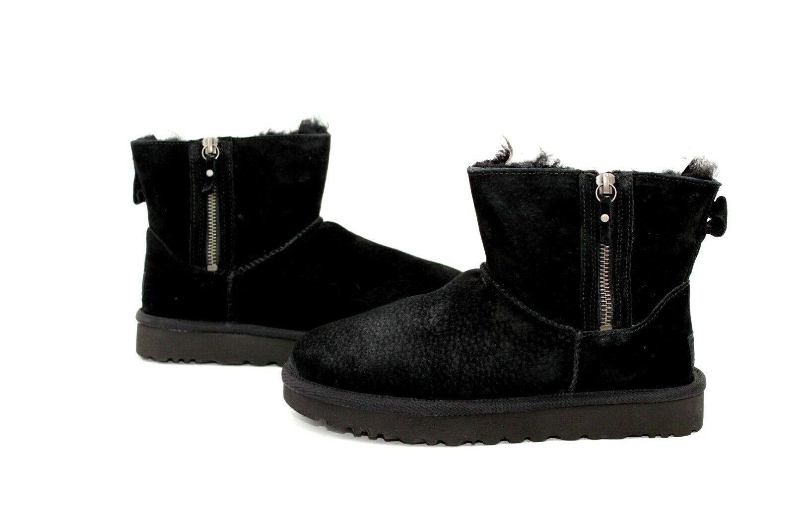 69710f64026 UGG Classic Mini Double Zip Black Suede Sheepskin BOOTS Womens Size 6 US