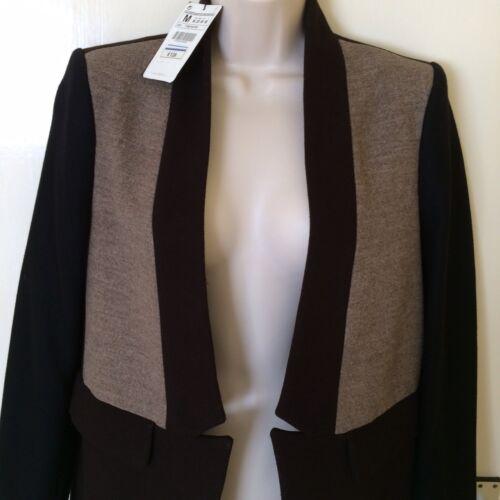 Coat Jacket Zara M Wool Rrp£129 Blend Brown Beige Size Uk10 qwRSBwgrI