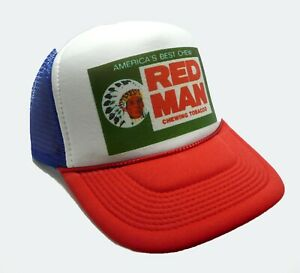 1e9af08439e Red Man Tobacco trucker hat mesh hat red white blue new chew hat ...