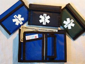 Black-Trim-Nylon-bifold-Medical-Wallets-with-a-white-medical-symbol-outside