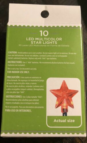 Craft Lights Holiday Time 10 LED Multicolor Star Lights Battery Powered 4 Ft