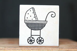 Baby-Buggy-Newborn-D1170-Stampabilities-Wood-amp-Foam-Backed-Rubber-Stamp