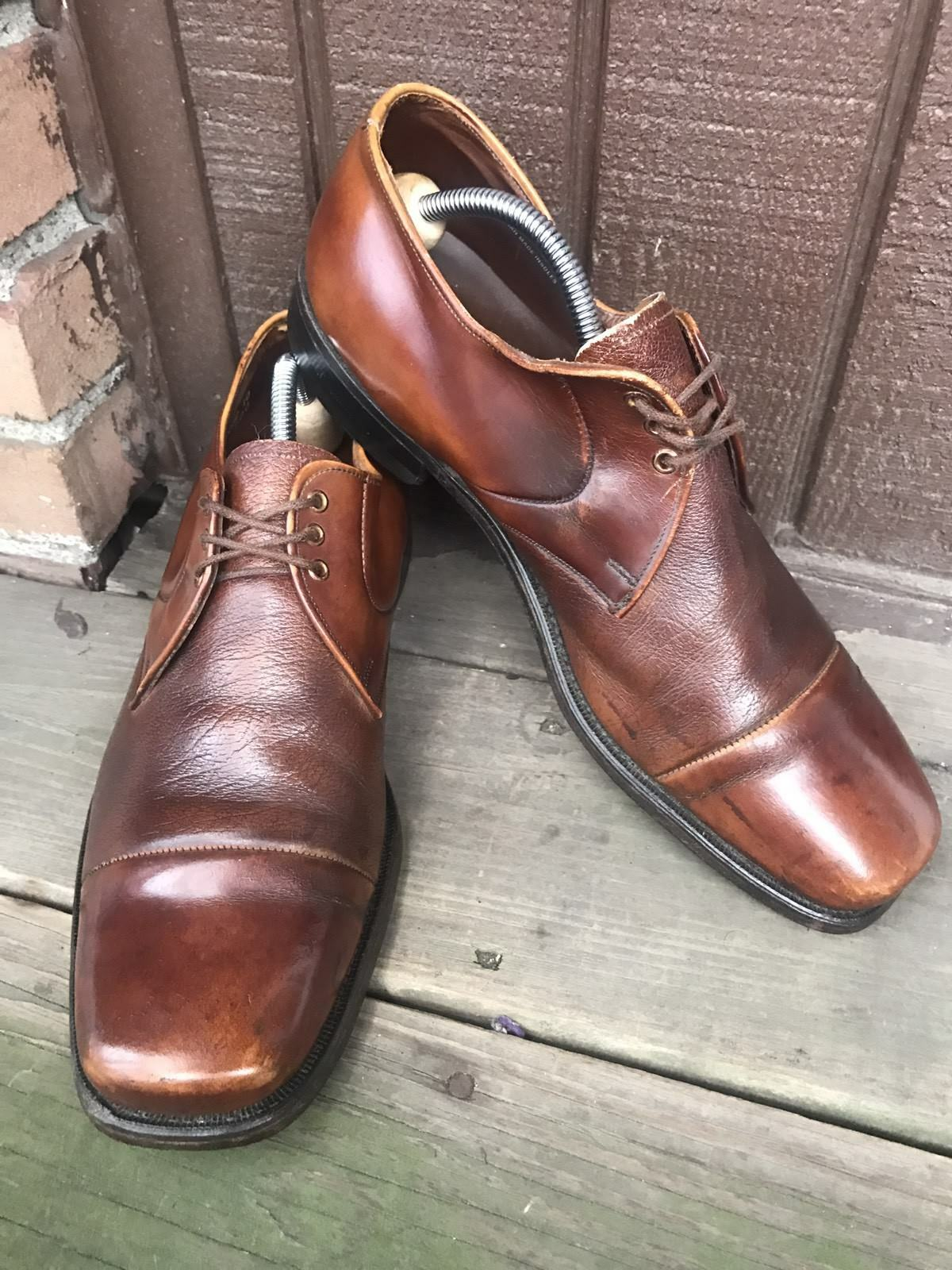 Mens Weyenberg Size 11 C Brown Leather Cap Toe Oxfords Derby Dress Casual-239