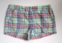 J Crew Pink Green Blue Madras Plaid 100% Cotton Short Shorts Made in India 8